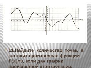 11.Найдите количество точек, в которых производная функции f`(Х)=0, если дан