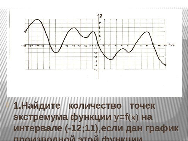 1.Найдите количество точек экстремума функции y=f(x) на интервале (-12;11),ес...