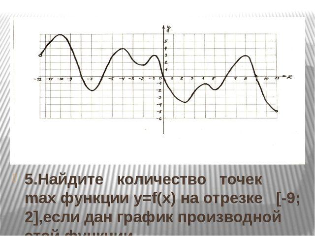 5.Найдите количество точек max функции y=f(x) на отрезке [-9; 2],если дан гра...