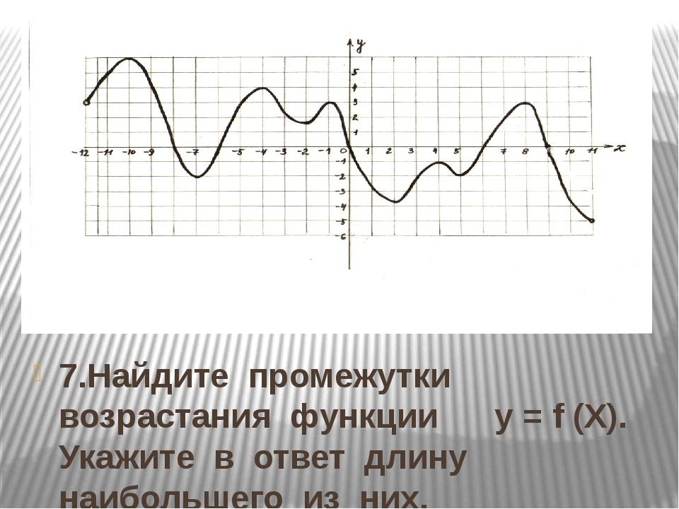 7.Найдите промежутки возрастания функции у = f (Х). Укажите в ответ длину наи...