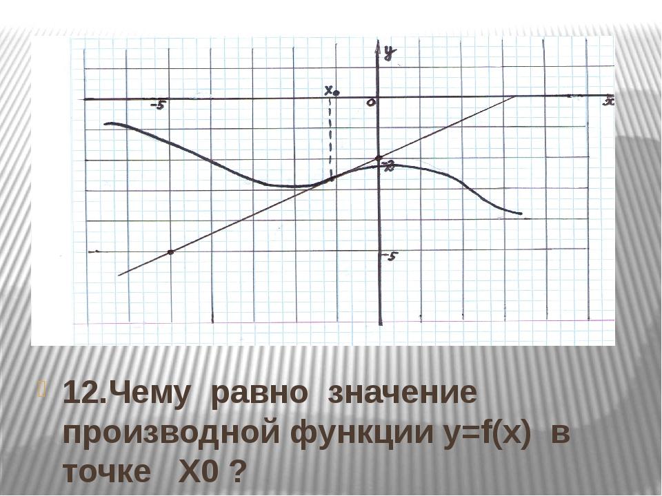 12.Чему равно значение производной функции y=f(x) в точке Х0 ?