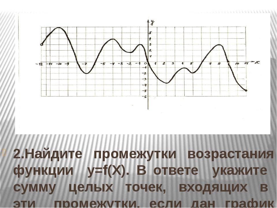2.Найдите промежутки возрастания функции y=f(Х). В ответе укажите сумму целых...