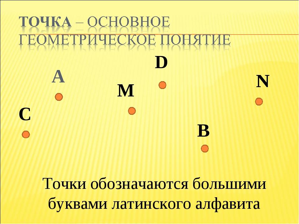 A Точки обозначаются большими буквами латинского алфавита