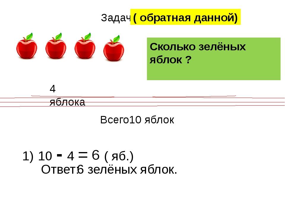 Задача 4 яблока ? Всего10 яблок Сколько зелёных яблок ? 1) 10 - 4 = 6 ( яб.)...