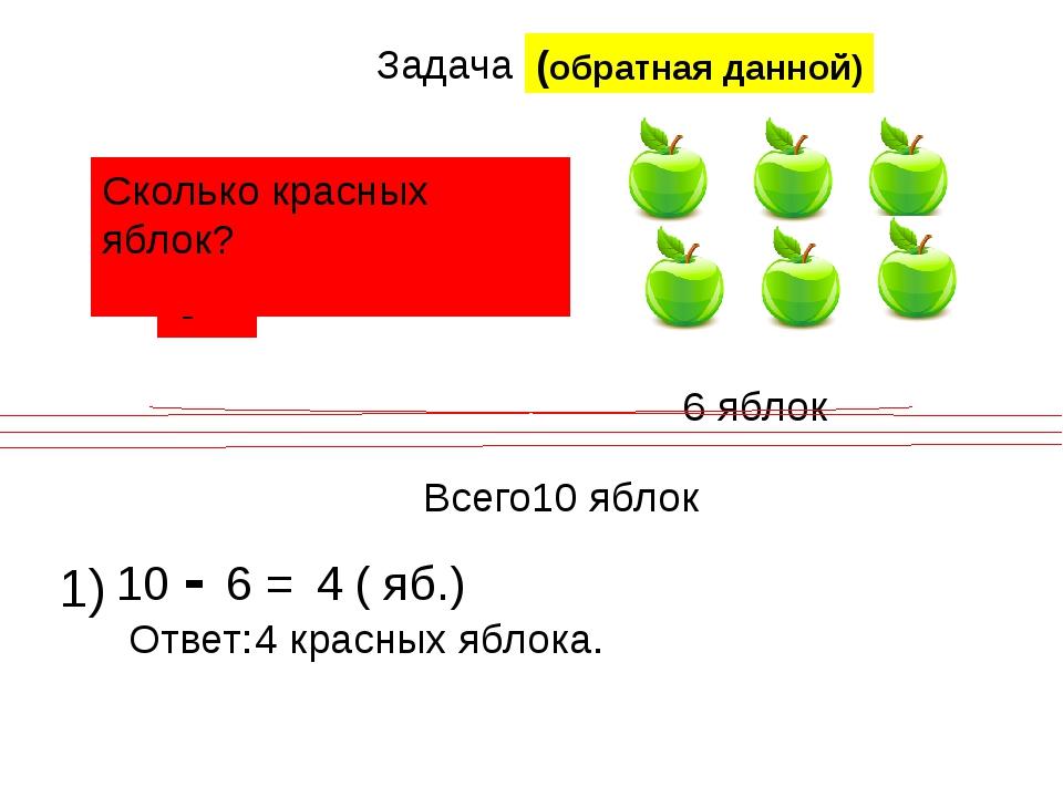 Задача ? 6 яблок Всего10 яблок Сколько красных яблок? 1) 10 - 6 = 4 ( яб.) От...