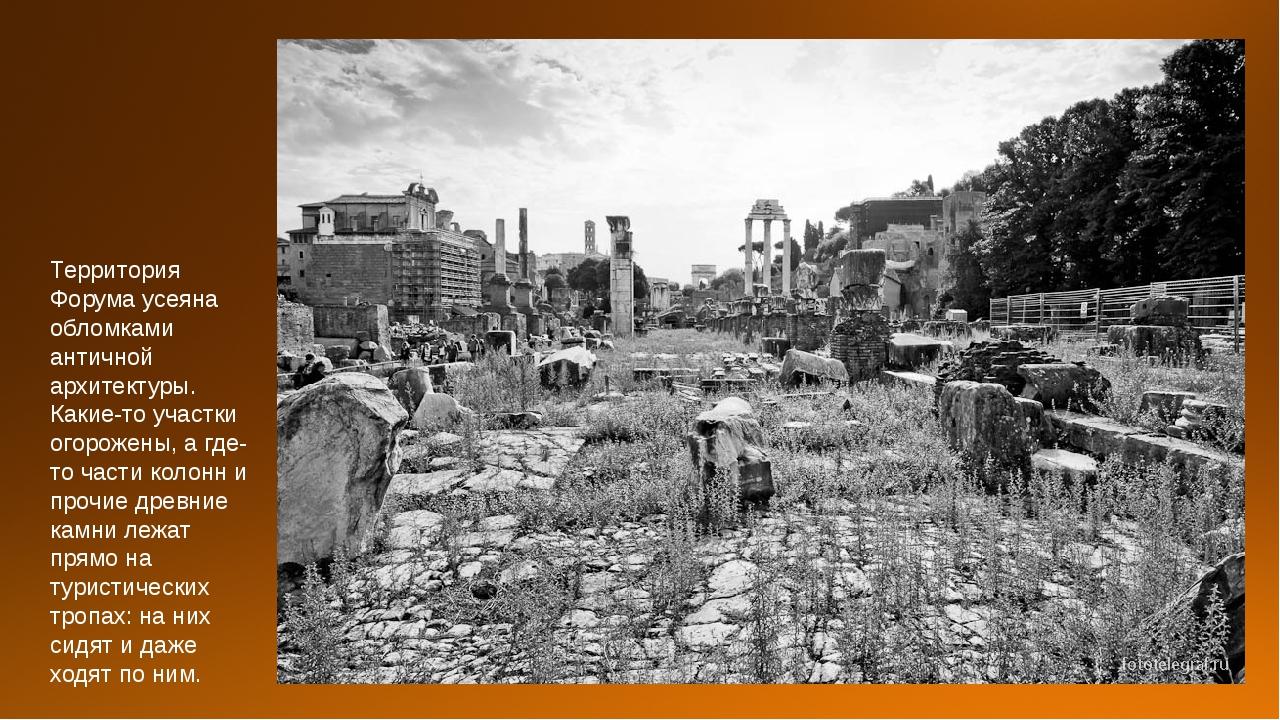 Территория Форума усеяна обломками античной архитектуры. Какие-то участки ого...