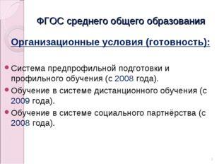 ФГОС среднего общего образования Организационные условия (готовность): Систем