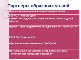 Партнеры образовательной организации из других отраслей * Органы муниципально