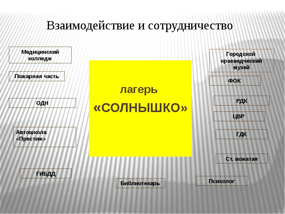 лагерь «СОЛНЫШКО» Взаимодействие и сотрудничество Городской краеведческий му...