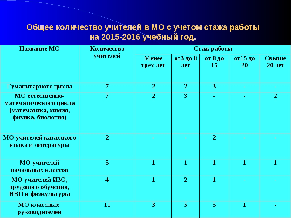Общее количество учителей в МО с учетом стажа работы на 2015-2016 учебный год...