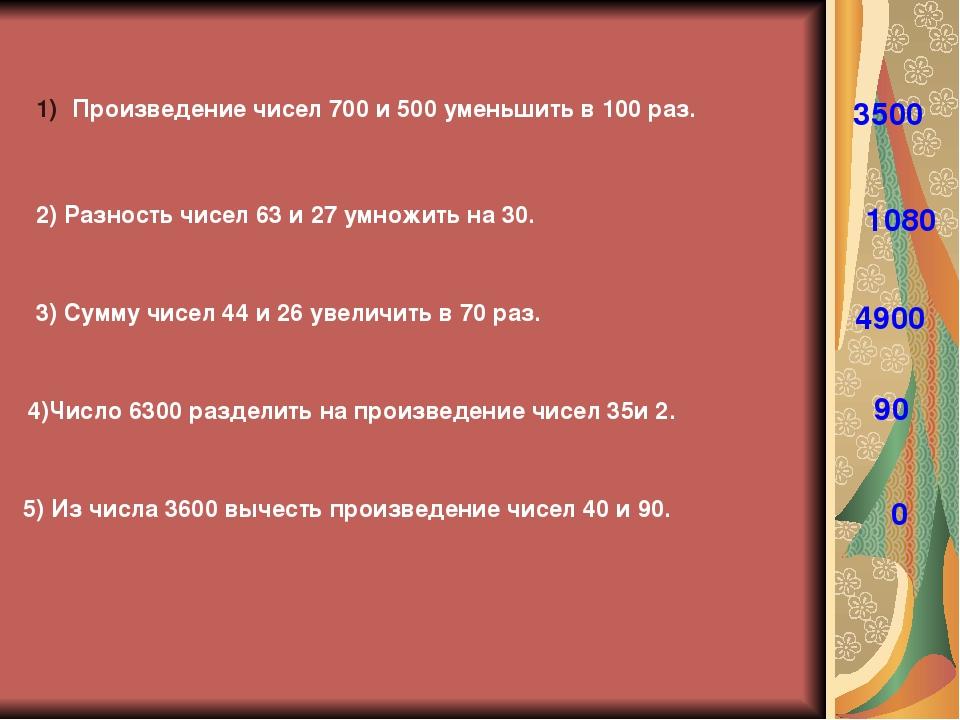 Произведение чисел 700 и 500 уменьшить в 100 раз. 3500 2) Разность чисел 63 и...