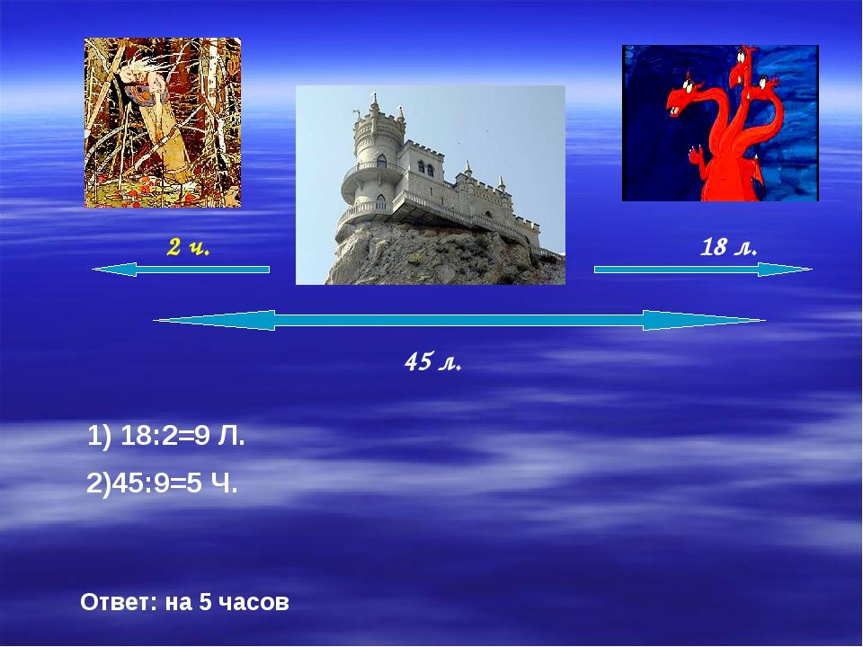 45 л. 1) 18:2=9 Л. 2)45:9=5 Ч. Ответ: на 5 часов 2 ч. 18 л.