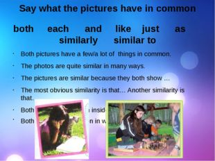 Say what the pictures have in common both each and  like just as similarly
