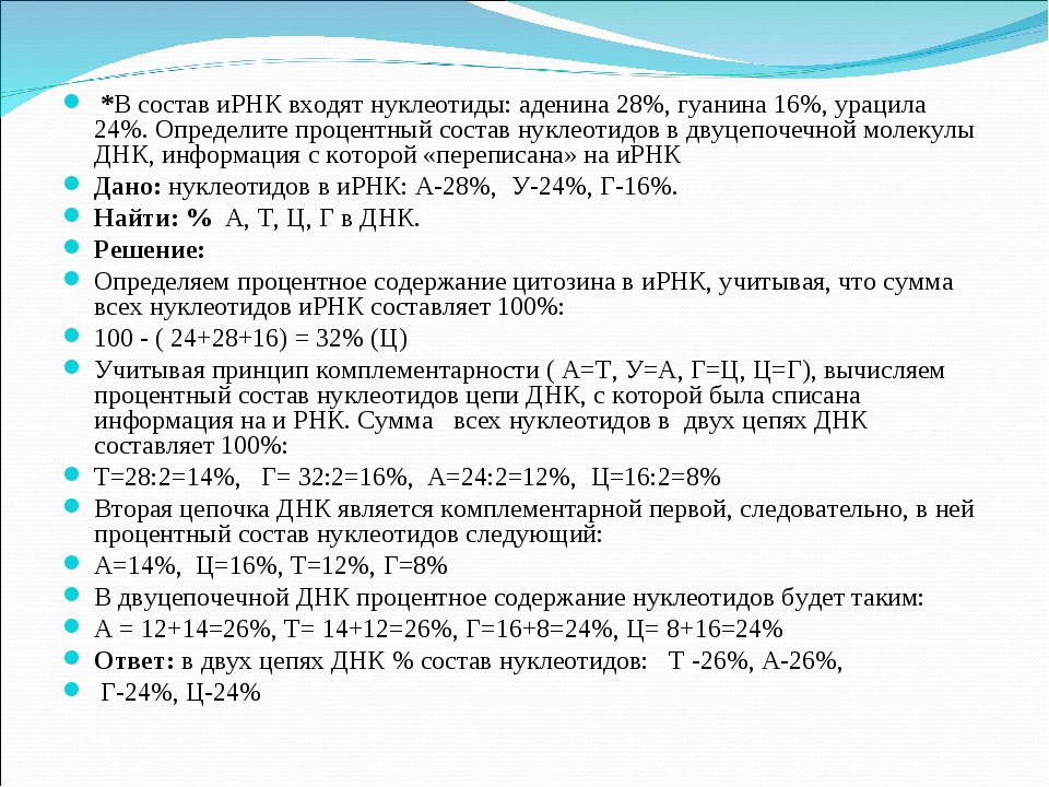 *В состав иРНК входят нуклеотиды: аденина 28%, гуанина 16%, урацила 24%. Опр...