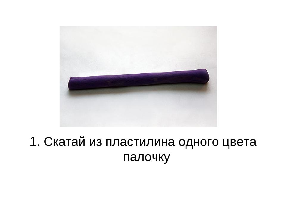 1. Скатай из пластилина одного цвета палочку