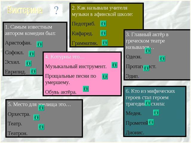 2. Как называли учителя музыки в афинской школе: Педотриб. Кифаред. Грамматик...