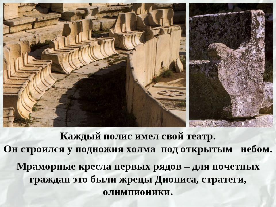 Мраморные кресла первых рядов – для почетных граждан это были жрецы Диониса,...