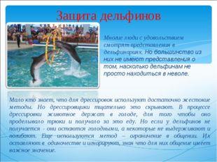 Защита дельфинов Многие люди с удовольствием смотрят представления в дельфина