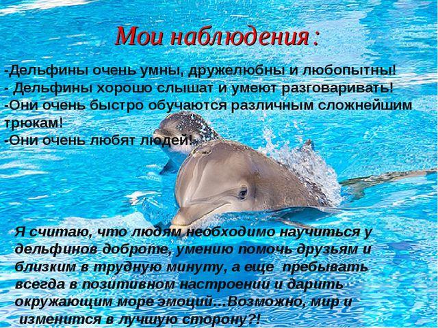 Мои наблюдения: -Дельфины очень умны, дружелюбны и любопытны! - Дельфины хоро...