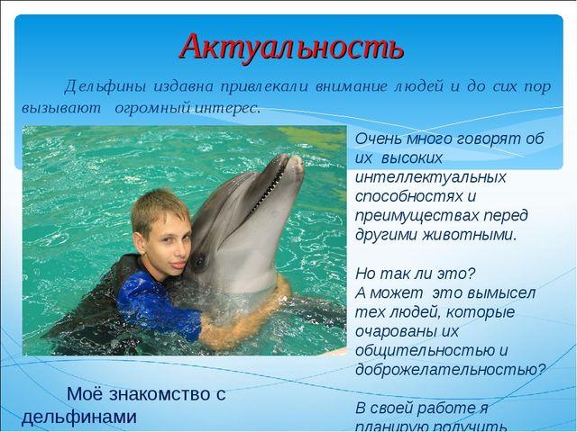 Актуальность Дельфины издавна привлекали внимание людей и до сих пор вызывают...