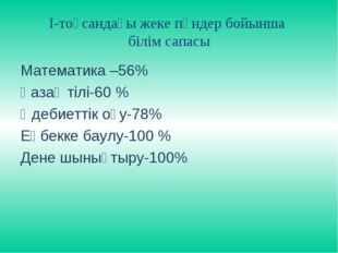 І-тоқсандағы жеке пәндер бойынша білім сапасы Математика –56% Қазақ тілі-60 %