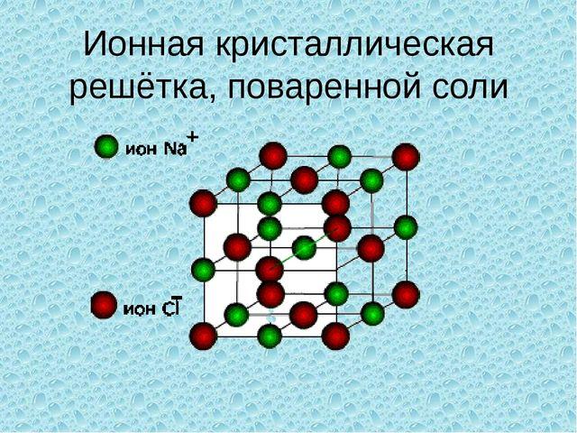 Ионная кристаллическая решётка, поваренной соли