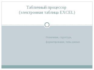 Назначение, структура, форматирование, типы данных Табличный процессор (элект