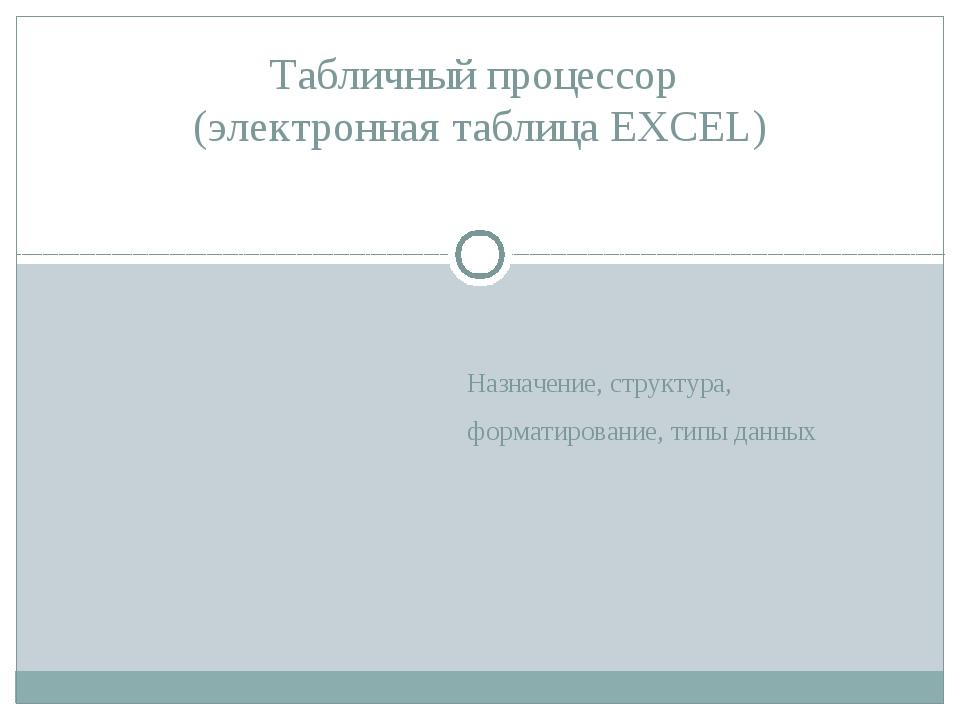 Назначение, структура, форматирование, типы данных Табличный процессор (элект...