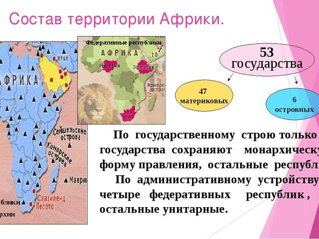 Состав территории Африки. Федеративные республики 53 государства 47 материков...
