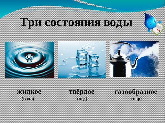 Три состояния воды жидкое (вода) твёрдое (лёд) газообразное (пар)