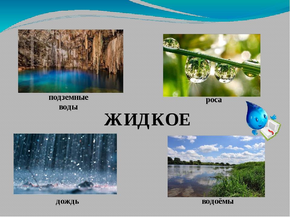 ЖИДКОЕ подземные воды дождь роса водоёмы
