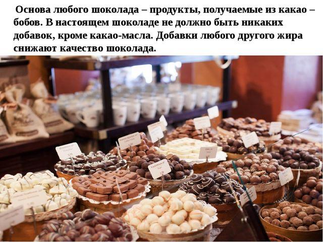 Основа любого шоколада – продукты, получаемые из какао – бобов. В настоящем...