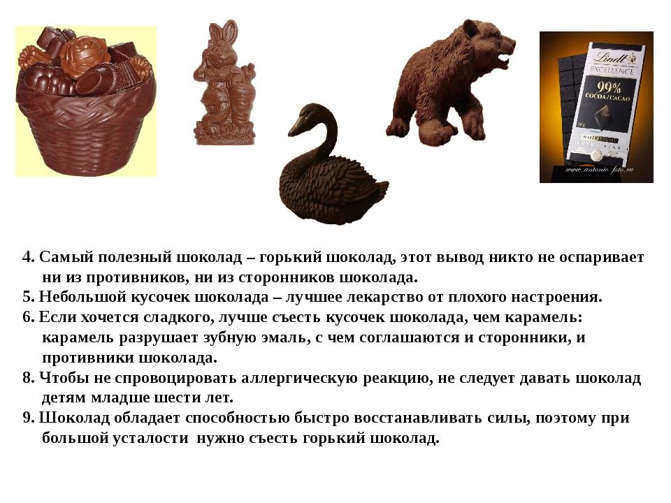 4. Самый полезный шоколад – горький шоколад, этот вывод никто не оспаривает...