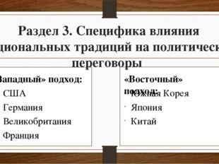 Раздел 3. Специфика влияния национальных традиций на политические переговоры