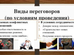 Виды переговоров (по условиям проведения) В рамках конфликтных отношений: Осо