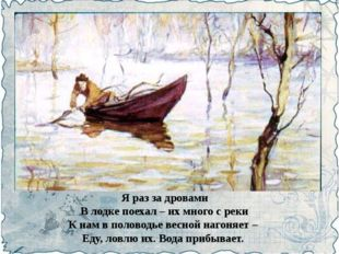 Я раз за дровами В лодке поехал – их много с реки К нам в половодье весной на
