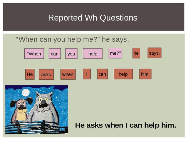 """Reported Wh Questions """"When can you help me?"""" he says. help can me?"""" says. yo..."""