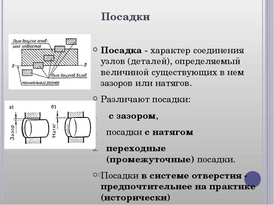 Посадки Посадка- характер соединения узлов (деталей), определяемый величиной...