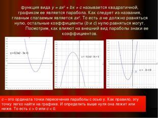функция видаy = ax2+ bx + cназывается квадратичной, графиком ее является п