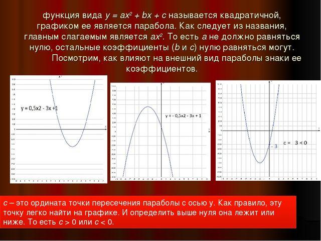 функция видаy = ax2+ bx + cназывается квадратичной, графиком ее является п...