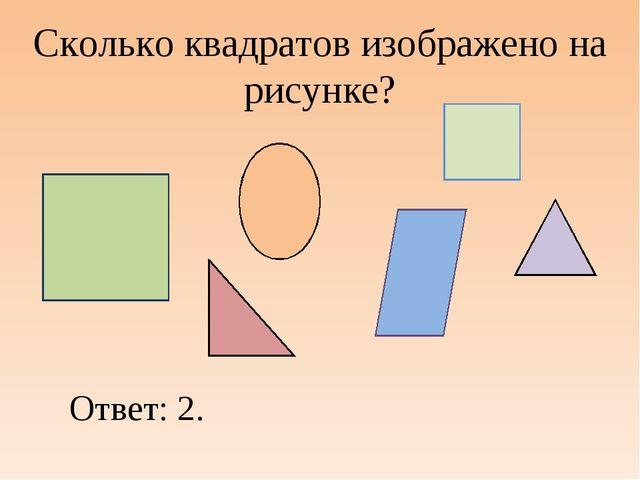 Сколько квадратов изображено на рисунке? Ответ: 2.
