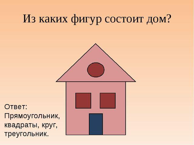 Из каких фигур состоит дом? Ответ: Прямоугольник, квадраты, круг, треугольник.