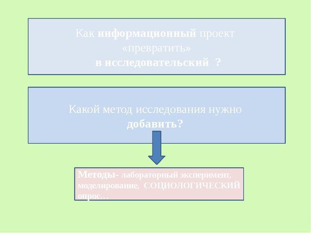 Как информационный проект «превратить» в исследовательский ? Какой метод иссл...