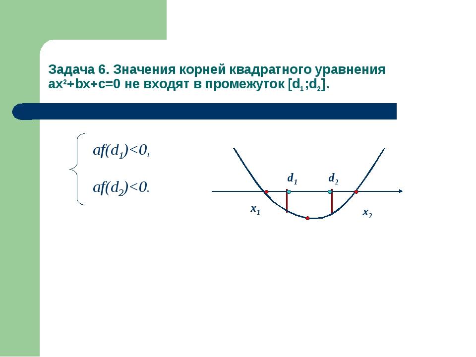 Задача 6. Значения корней квадратного уравнения ax2+bx+c=0 не входят в промеж...