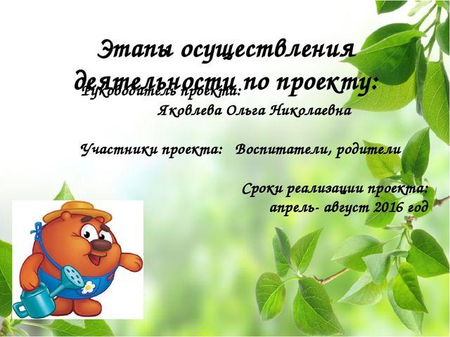 Этапы осуществления деятельности по проекту: Руководитель проекта: Яковлева О...