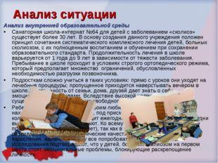Анализ ситуации Анализ внутренней образовательной среды Санаторная школа-инте