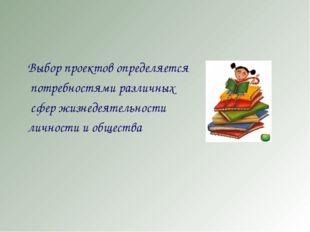 Выбор проектов определяется потребностями различных сфер жизнедеятельности л