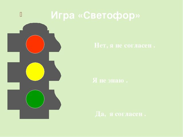Игра «Светофор» Нет, я не согласен . Я не знаю . Да, я согласен .