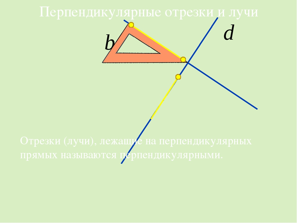 Перпендикулярные отрезки и лучи Отрезки (лучи), лежащие на перпендикулярных...