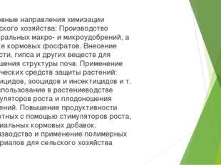 Основные направления химизации сельского хозяйства: Производство минеральных